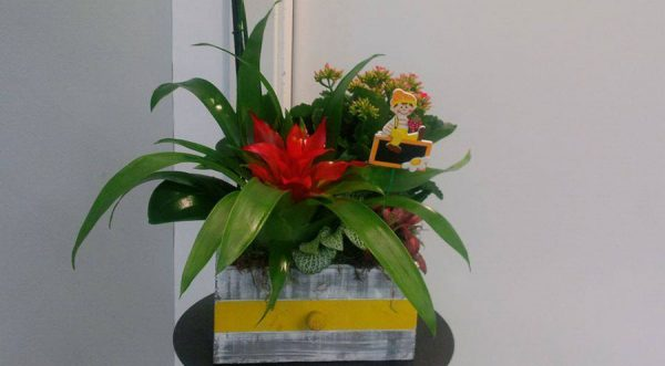 Composición floral en caja de madera