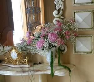 Centro de flores en consola